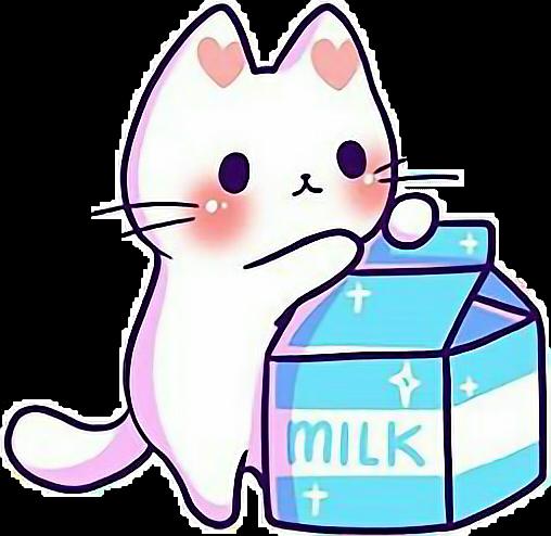 Cat Love Milk Clipart