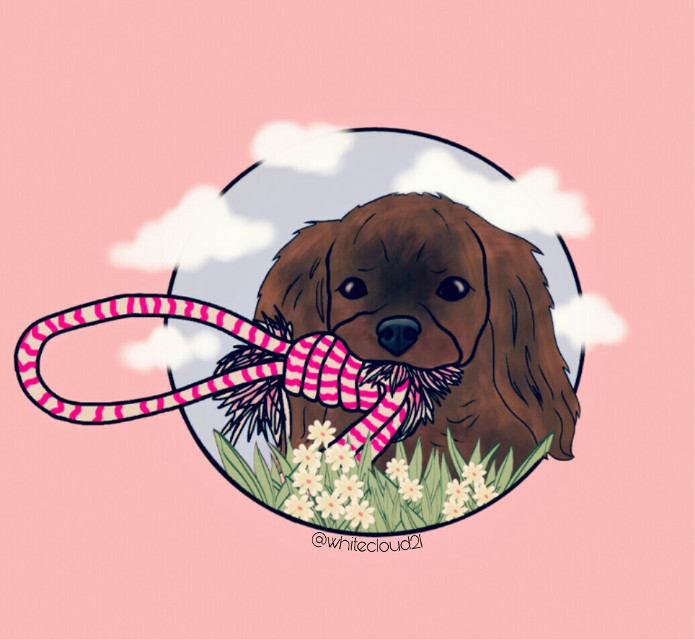 #drawnbyme  #drawing  #drawtools  #cute #madewithpicsart  #dog #cutedog #clouds #pink #flowers #rope #playingwiththedog #drawnwithpicsart  #mydrawing (based on a picture from the web) @pa