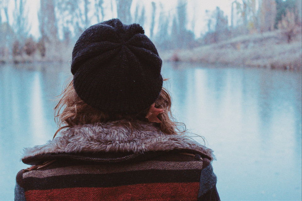 #FreeToEdit #girl #alone #cold #lake #forest #nature