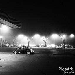 blackandwhite gasstation volkswagen volkswagenbeetle madewithpicsart