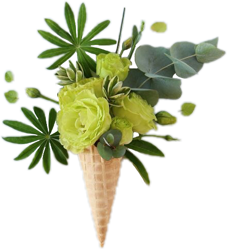 #green #flower #cone #floral #leaves #icecream#FreeToEdit
