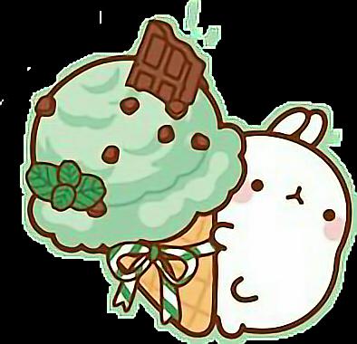 #cute #rabbit #ice cream #green #freetoedit