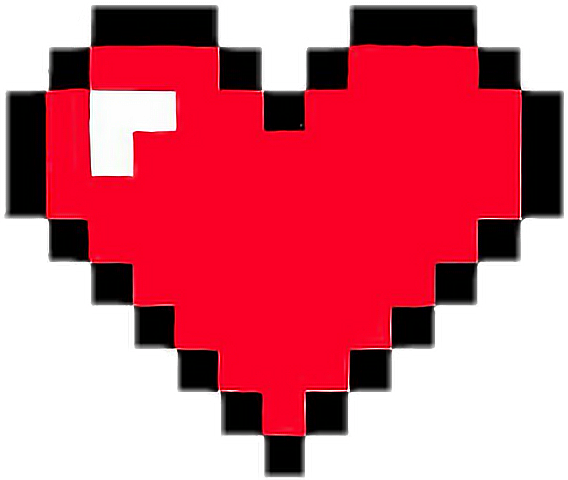 heart pixelart game retro red minecraft life pixel...