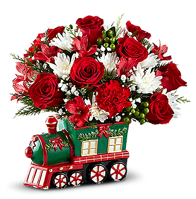 #flowers #christmasflower #roses #train #decoration #christmas#freetoedit